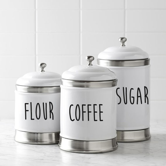 Kitchen Canister Decals, Kitchen Canister Labels, Canister Set Stickers,  Canister Set Labels, Pantry Decals, Flour, Sugar, Coffee Decal