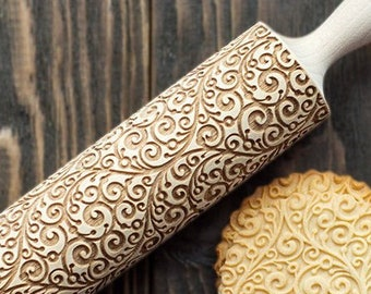 Curly patterned rolling pin, 3D cookie stamp with floral motifs