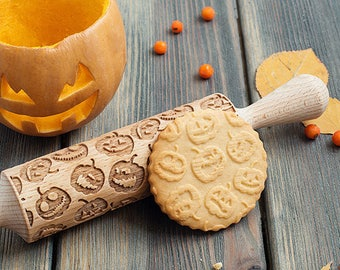 Pumpkin pattern rolling pin, Holiday theme embossing rolling pin, Halloween / Jack-o'-lantern cookie stamp