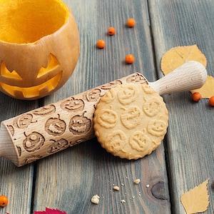 Pumpkin rolling pin, cookie stamp, embossing rolling pin,  Halloween Holiday theme, Jack-o-lantern