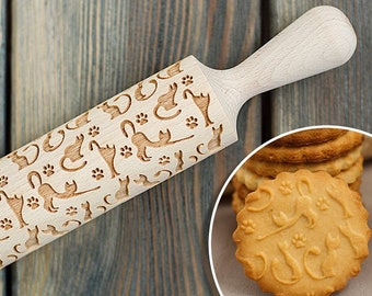 Lazy Cats Rolling pin, cookie stamp, engraved cat pattern, embossing rolling pin with catlike paws