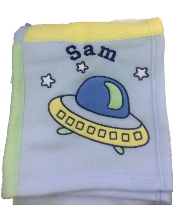 Personalised Blue /'UFO/' Embroidered Baby Blanket Great Baby Gift.