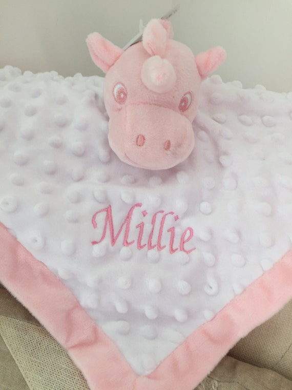 Personalised Baby Comforter Blankie//Blanket Gift UNICORN TAGGIE TAGGY