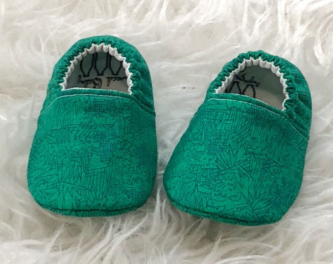 0-3month Ready To Ship Emerald Green Baby Shoes
