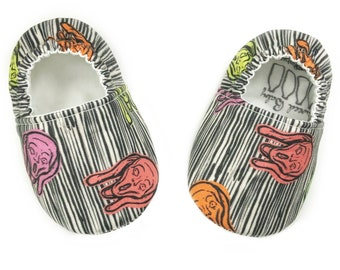 0-3mo Ready to Ship The Scream Art Moccasins