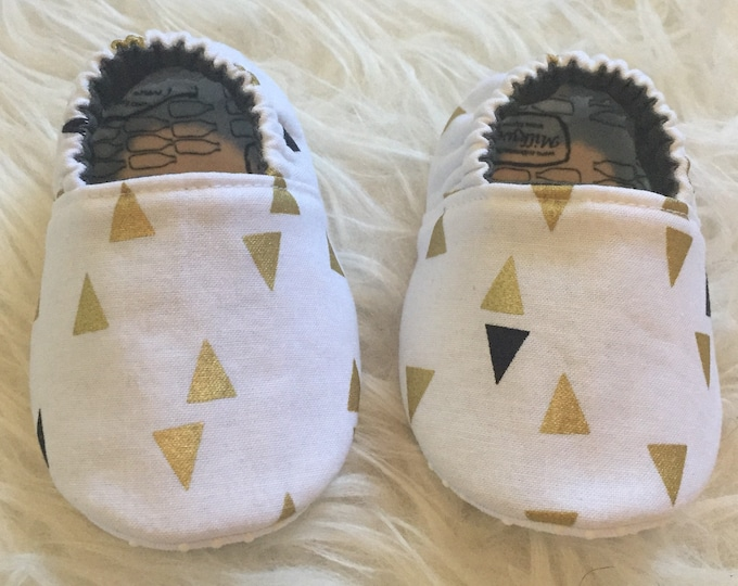 Black and Gold Triangle Moccasins