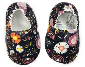 3-6 months Ready to Ship Rainbows & Flowers Moccasins