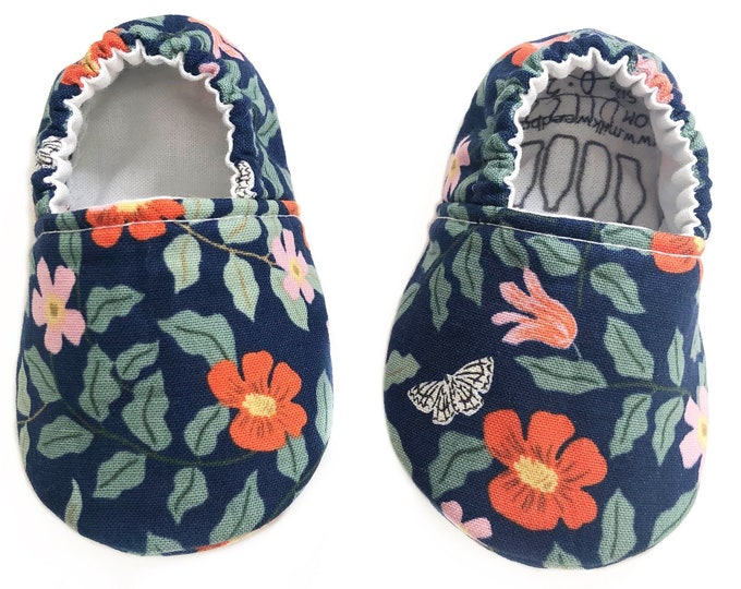 0-3mo Ready to Ship Floral Moccasins, Butterfly, Rifle Paper Co