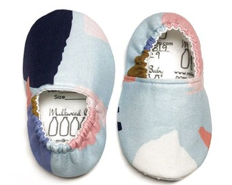 Pink Purple Dijon Navy Light Blue White Abstract Collage Soft Sole Shoes for Babies & Toddlers, Newborn to Size 13