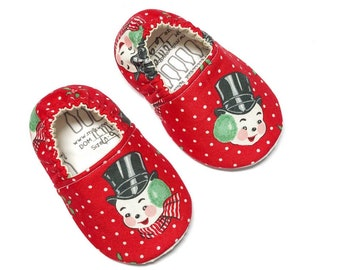 6-9mo Ready to Ship Frosty Snowman moccasins, Christmas baby shoes, holiday soft sole shoes for newborn, infant, baby & toddler