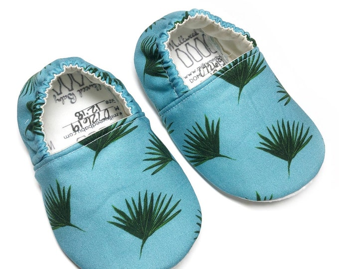 Montessori shoes, indoor shoes, classroom shoes; blue palms