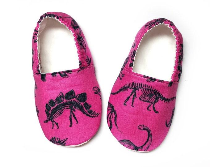 Hot Pink Dinosaur Moccasins