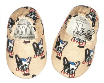 0-3mo Ready To Ship French Bulldog Moccasins