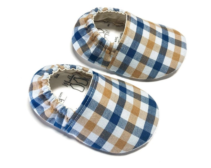 Boy Baby Shoes, Plaid Baby Shoes, Baby Boy Moccs, Soft Sole Baby Shoes, Baby Slippers, Baby Moccasins, Crib Shoes, Toddler Moccs, Moccs