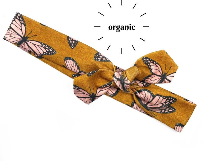 Pink Butterfly Organic Cotton Knotted Headband