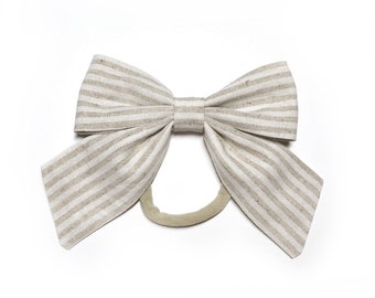 Neutral Stripes Sailor Bow Nylon Headband / Tan Sailor Bow/ Coffee and Cream Stripe Bow with Tails / Sailor Bow Headband / Baby Bow Headband