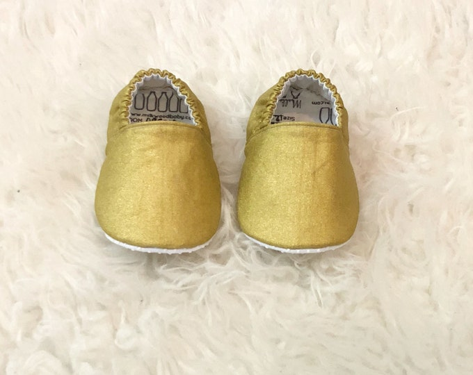 Gold Moccasins, Infant Girl Shoes, Toddler Moccs, Flats,Shoes for flower girl, fairy, & princess, Booties, Gift, Glam Baby, Vegan, No Slip