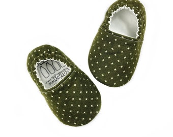 0-3mo Ready To Ship Olive Green Plus Sign Moccasins