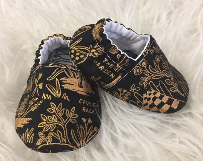 Rifle Paper Co Wonderland Soft Sole Baby Shoes Toddler Slippers Made to Order Metallic Gold on Black  Moccs