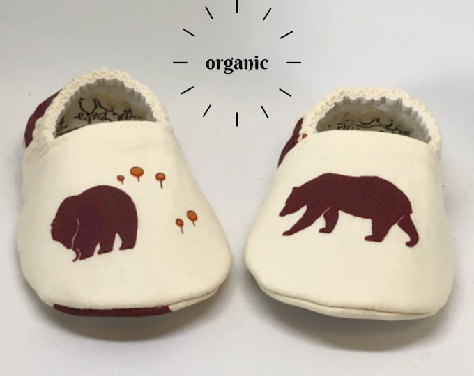 Bear Baby Shoes, Baby Boy Shoes, Baby Girl Shoes, Bear Shoes, Baby Booties, Baby Moccs, Baby Boy Moccs, Bear Booties, Organic Vegan Slippers