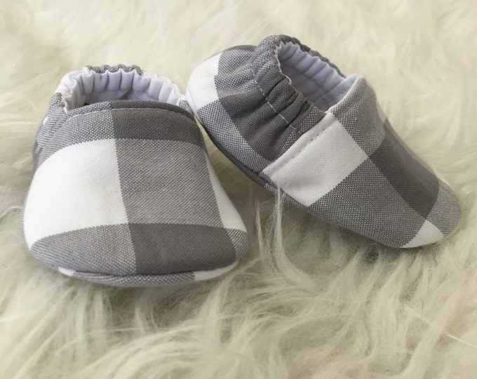 Baby Moccs: Gray and White Plaid Soft Sole Gender Neutral Baby Toddler Shoes