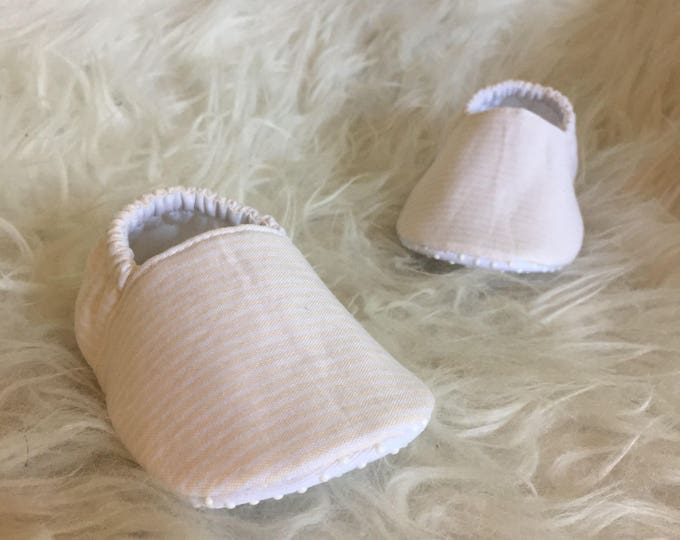 Baby Moccs: Pale Peachy Pink and White Stripe Soft Sole Baby Toddler Shoes
