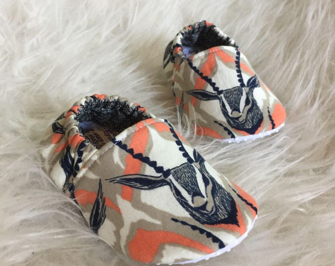 Baby Moccs: Safari Coral & Navy / Baby Shoes / Baby Moccasins / Childrens Indoor Shoes / Vegan Moccs / Soft Soled Shoes / Montessori Shoes