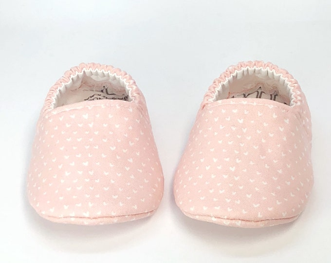 Pink Soft Sole Shoes with Tiny Hearts