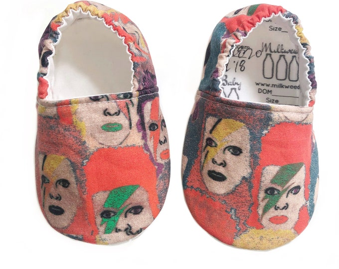 12-18mo Ready to Ship David Bowie Ziggy Stardust Moccasins