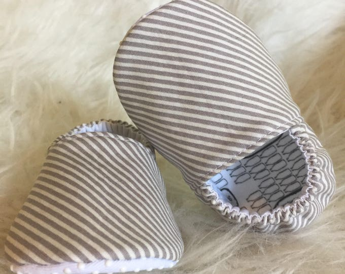Classic Gray and White Stripe Soft Sole Baby & Toddler Shoes