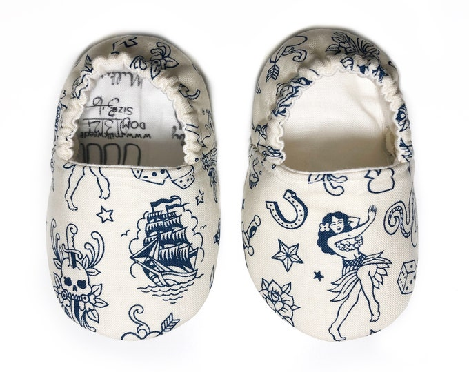 Sailor Jerry Tattoo Moccasins, Blue Ink