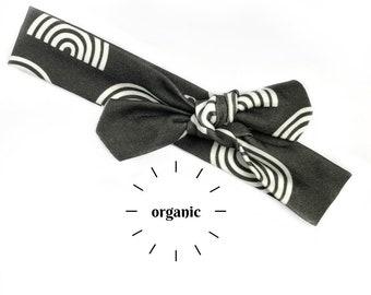 Black & White Rainbows Organic Cotton Knotted Headband