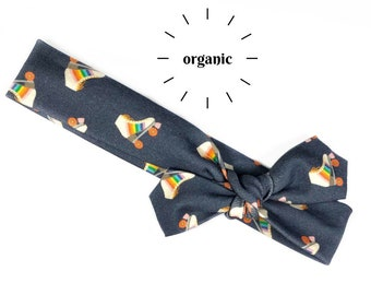 Rainbow Roller Skates Organic Cotton Knotted Headband