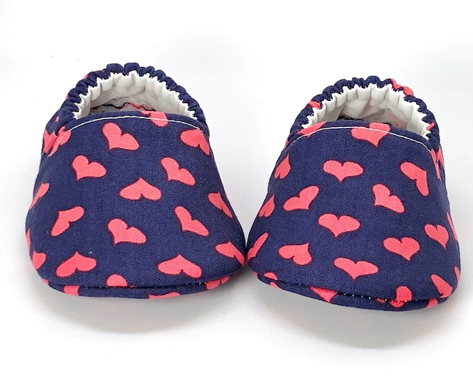 3-6 Months RTS Perfect Valentines Day Baby or Toddler Moccasins, Parisian Colors, Heart, Baby Love, Paris Love, Pink & Blue Hearts Moccasins