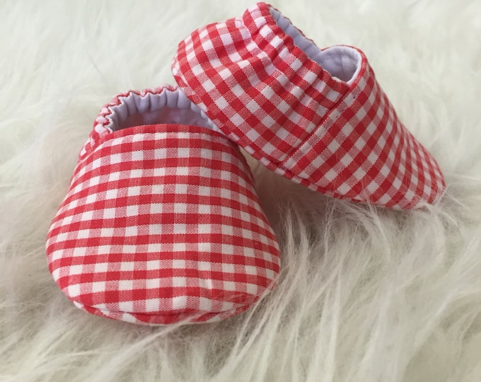 Baby Moccs: Red and White Gingham Soft Sole Baby Toddler Shoes