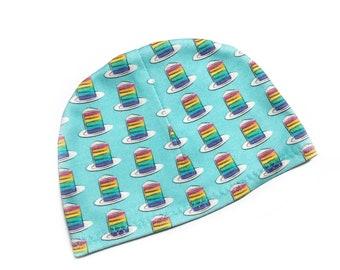 Rainbow Layer Cake organic baby hat