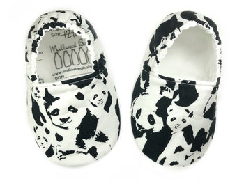 12-18mo Ready to Ship Panda baby shoes for boys & girls