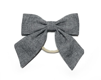 Black Linen Sailor Bow Nylon Headband / Sailor Bow / Black Linen Bow with Tails / Sailor Bow Headband / Baby Bow Headband