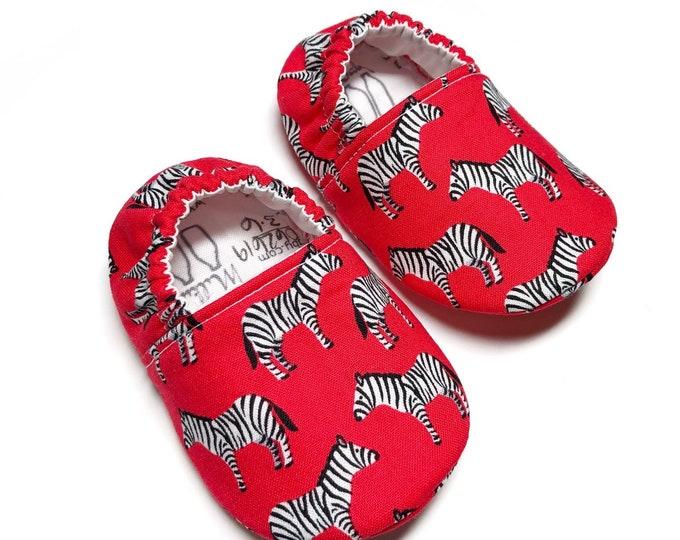 Zebra Soft Sole Baby Shoes Crib Shoes Baby Booties Soft Sole Shoes Infant Shoes Baby Boys Shoes Baby Shower Gift Newborn Handmade