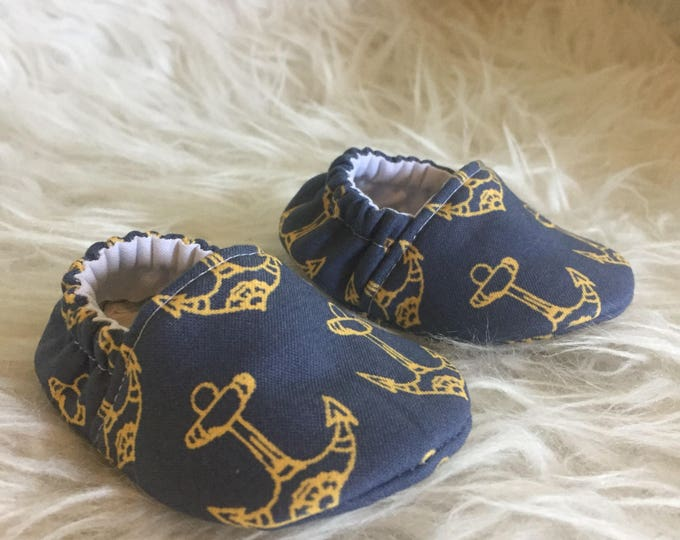 Baby Shoes: Anchors Soft Sole Baby Toddler Shoes - Yellow Anchors on Navy - Crib Shoes - Moccs - Exclusive Design