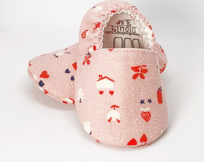 Yours Truly Baby Shoes, Love Nest Baby Slippers, Soft Sole Baby Shoes, Valentines Baby Shoes, Baby Moccs, Moccasins, Baby Booties,Vegan Baby