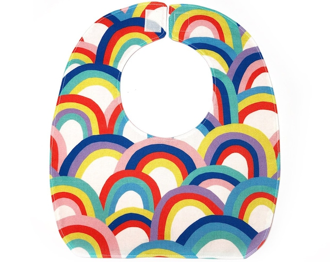 Reversible Bib, Baby Shower Gift, Practical Baby Gift, New Mom Gift, Rainbow Baby Gift, Easily Fits Newborn to Toddler, Machine Wash & Dry