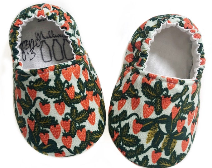 0-3mo Ready to Ship Strawberry Moccasins, Rifle Paper Co