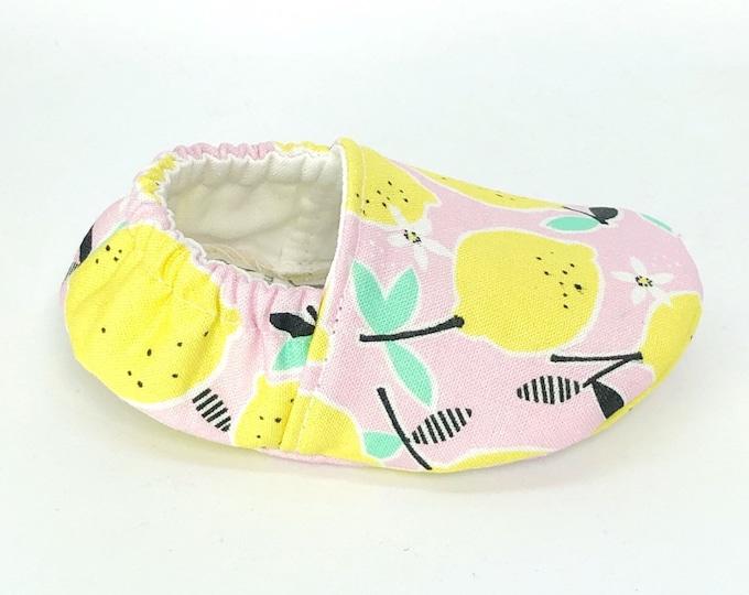 Pink Lemon Baby Gift, Soft Sole Shoes, Citrus Baby Shower, Lemonade, Vegan Moccasins