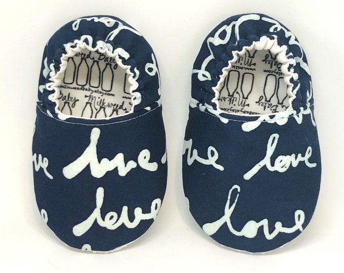 Featured listing image: Love Infant Indigo Shoes, Bohemian Moccasins, Tie Dye, Unisex Shoes for Baby or Toddler, Classroom Shoes, Hippie Baby, Blue, Newborn Photos