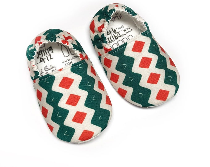 9-12mo Ready to Ship Holiday moccasins, Christmas baby shoes, holiday soft sole shoes for newborn, infant, baby & toddler