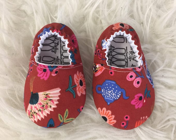 Rifle Paper Co Wonderland Soft Sole Baby Shoes Toddler Slippers Made to Order Floral Tea Party Red Moccs