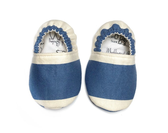 blue and oatmeal striped baby shoes, toddler shoes, Montessori shoes, Waldorf shoes, classroom shoes, vegan moccasins