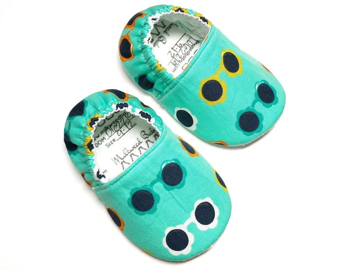 9-12mo RTS Sunnies Baby Shoes, Baby moccasins, Non Slip Baby Shoes, Soft Sole Shoes, Toddler Shoes, Girl Shoes