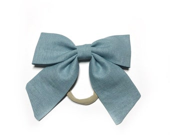 Slate Blue Linen Sailor Bow Nylon Headband / Sailor Bow / Blue Linen Bow with Tails / Sailor Bow Headband / Baby Bow Headband